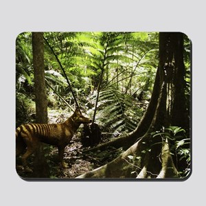 Tasmanian wolf in forest Mousepad