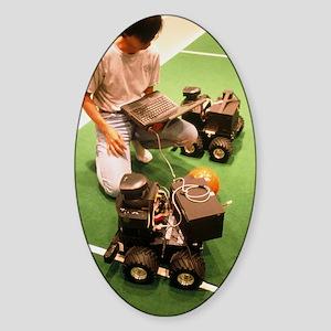 Technician programs robot footballe Sticker (Oval)
