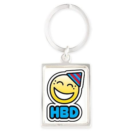 hbd bbm smiley Portrait Keychain