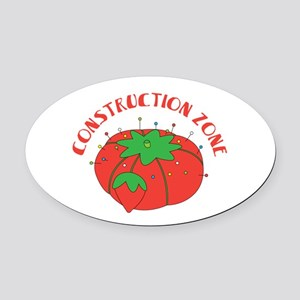 Construction Zone Oval Car Magnet