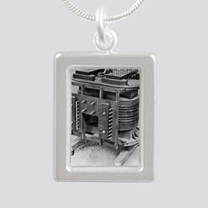 Testing an electrical tr Silver Portrait Necklace