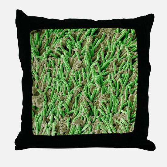 Dental plaque, SEM Throw Pillow