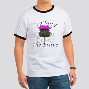 Scotland The Brave Thistle Design Ringer T