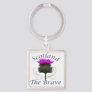Scotland The Brave Thistle Design Square Keychain