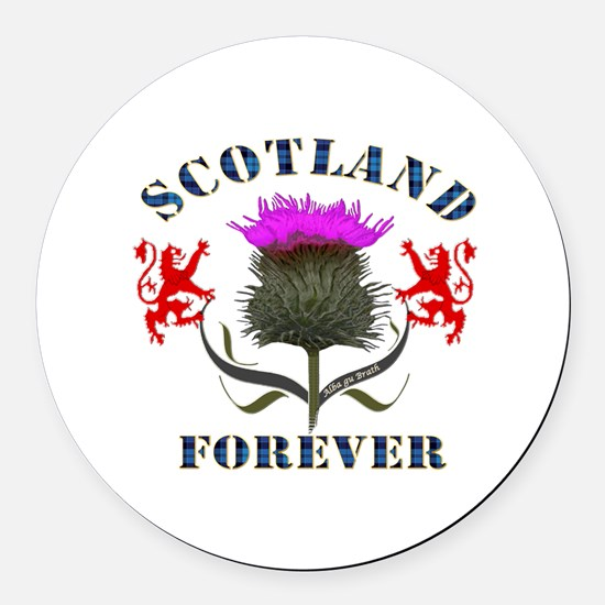 Scotland Forever Thistle Design B Round Car Magnet