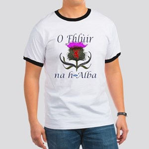 Flower of Scotland Gaelic Thistle Design Ringer T