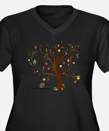 Tree of Life Women's Plus Size Dark V-Neck T-Shirt
