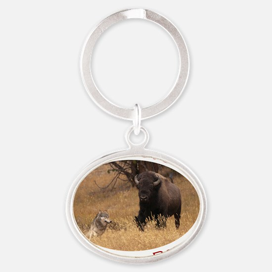 Yellowstone National Park...Bison &  Oval Keychain