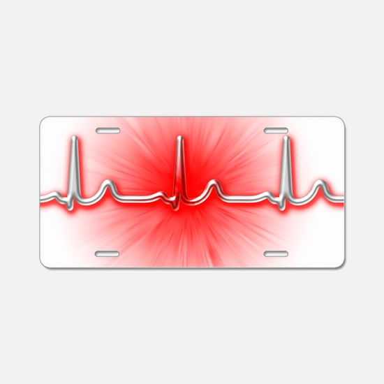 ECG of a normal heart rate Aluminum License Plate
