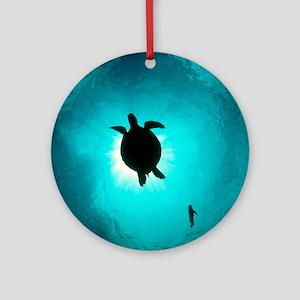 Turtle swimming Round Ornament