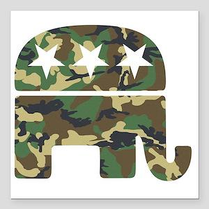 """Republican Camo Elephant Square Car Magnet 3"""" x 3"""""""