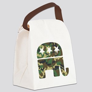 Republican Camo Elephant Canvas Lunch Bag