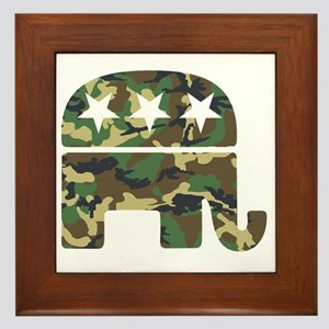 Republican Camo Elephant Framed Tile