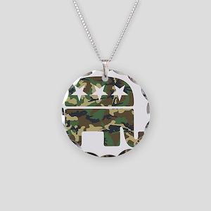 Republican Camo Elephant Necklace Circle Charm