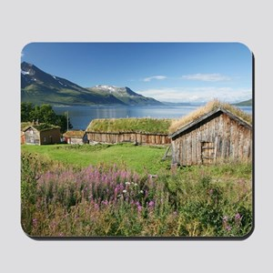 Turf roofed wooden huts, Norway Mousepad