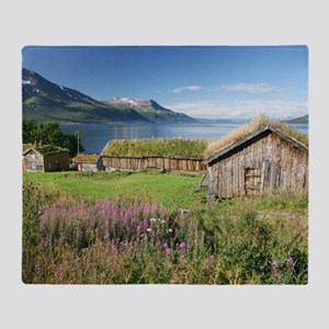 Turf roofed wooden huts, Norway Throw Blanket