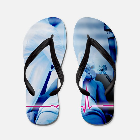 Emergency defibrillation Flip Flops