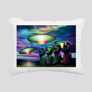 UFOs over statues Rectangular Canvas Pillow