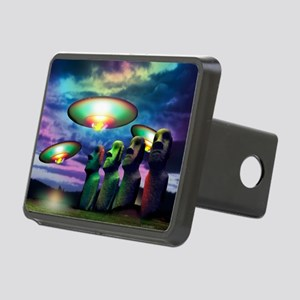 UFOs over statues Rectangular Hitch Cover