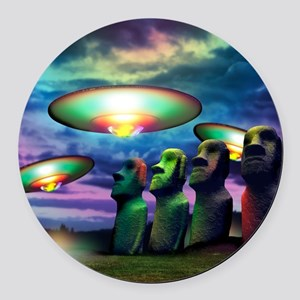 UFOs over statues Round Car Magnet