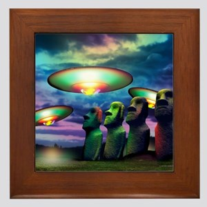 UFOs over statues Framed Tile