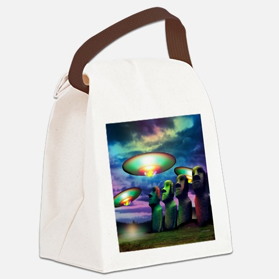 UFOs over statues Canvas Lunch Bag