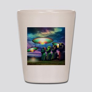 UFOs over statues Shot Glass