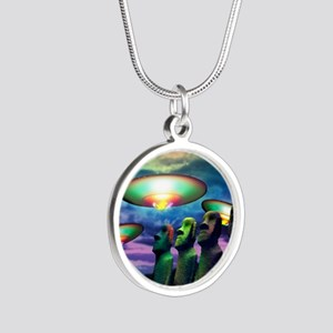 UFOs over statues Silver Round Necklace