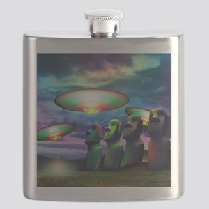 UFOs over statues Flask