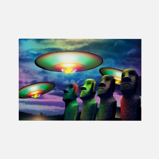 UFOs over statues Rectangle Magnet