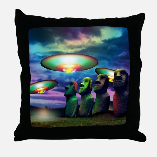 UFOs over statues Throw Pillow