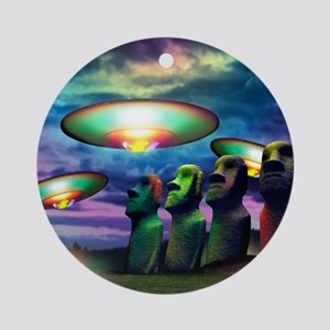 UFOs over statues Round Ornament