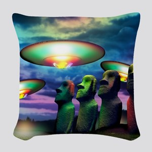 UFOs over statues Woven Throw Pillow