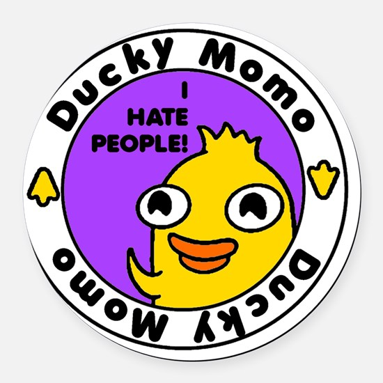 Ducky Momo Hates People! Round Car Magnet