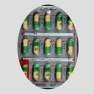 Foil pack of Prozac pills Oval Ornament