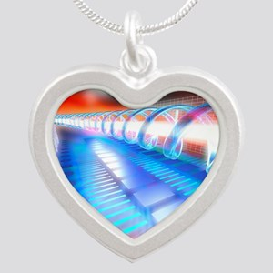 Genetic research Silver Heart Necklace