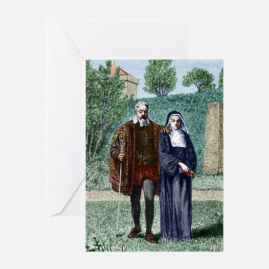 Galileo and his daughter Maria Celes Greeting Card