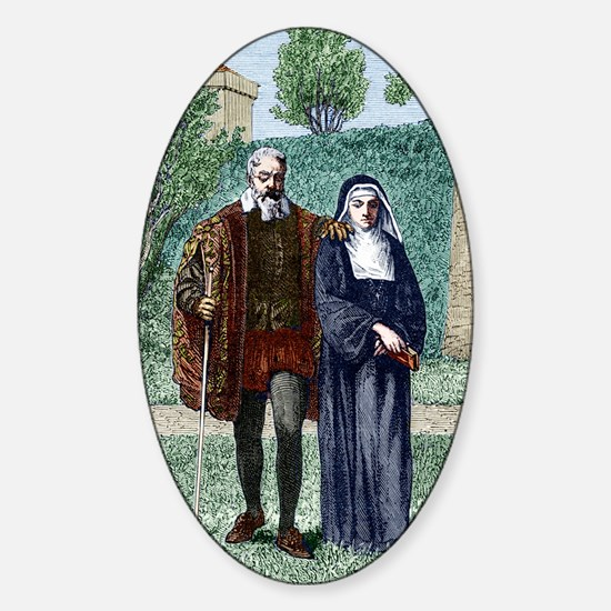 Galileo and his daughter Maria Cele Sticker (Oval)