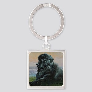 Newfoundland Dog Square Keychain