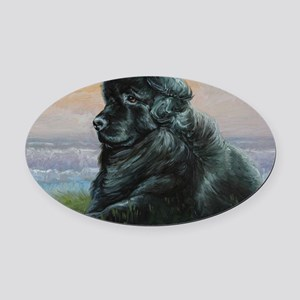Newfoundland Dog Oval Car Magnet