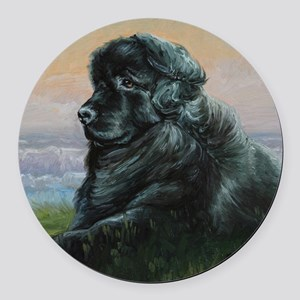 Newfoundland Dog Round Car Magnet