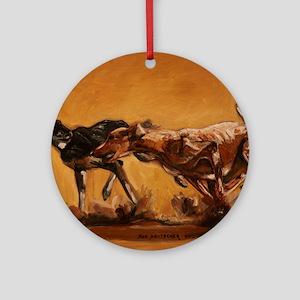 Salukis Running Round Ornament