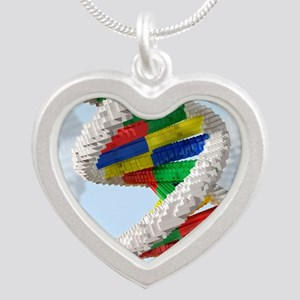 Genetic engineering, concept Silver Heart Necklace