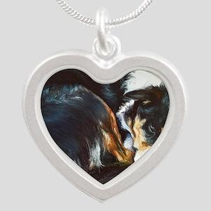 Border Collie Sleeping Silver Heart Necklace