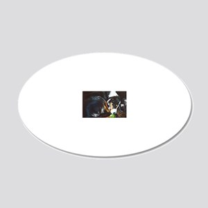 Border Collie Sleeping 20x12 Oval Wall Decal