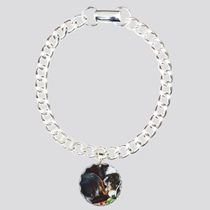 Border Collie Sleeping Charm Bracelet, One Charm