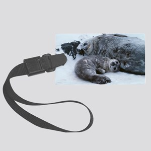 Weddell seal mother with pup Large Luggage Tag