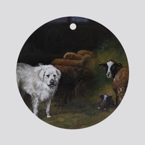 Great Pyrenees with Sheep Round Ornament