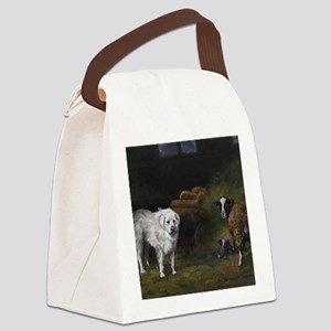 Great Pyrenees with Sheep Canvas Lunch Bag