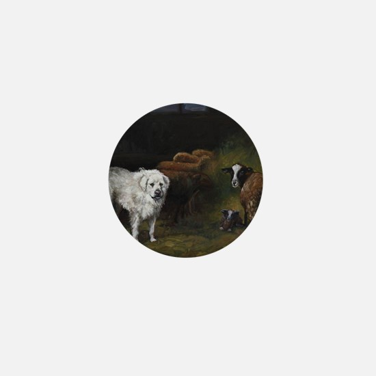 Great Pyrenees with Sheep Mini Button